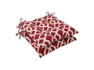 Outdoor New Geo Tufted Seat Cushion Red Set of 2