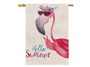 Summer Flamingo Large House Flag Vertical Double Sided 28 x 40 Inch Floral Burlap Yard Outdoor Decor