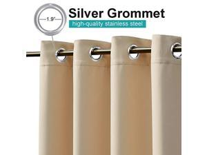 Outdoor Curtain for Patio Waterproof 108 inch Extra Long Rustproof Grommet Room Darkening Thermal Insulated Privacy Outdoor Space Drape for HallLounge 84 inch Wide Biscotti Beige 1 PC