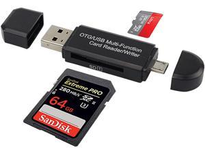 Micro USB OTG to USB 2.0 Adapter,Portable Memory Card Reader,Micro SD Card Reader with Standard USB Male & Micro USB Male Ports for Smartphones&Tablets&PCs & Notebooks with OTG Function-Black