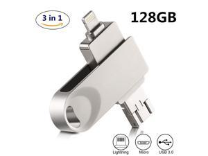 iPhone flash drive 32GB-256GB, encrypted USB memory stick USB 3.0 3in1 OTG drive flash drive is suitable for iPhone, iPad, iPod, Mac, Android and PC...