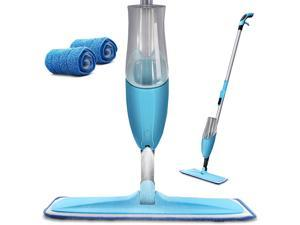 Microfiber Spray Mop with Total 2 Washable Mop Pad for Hardwood Ceramic Marble Tile Laminate Home Kitchen Floor Cleaning Wet and Dry Easy Wring 600ml Blue