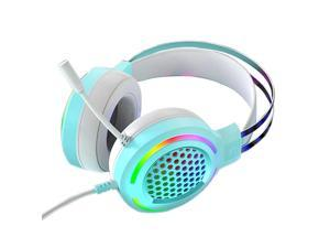Pink Heads Gaming Headset With Micro Professional Gamer 7.1 Surround Sound RGB Light for PC Computer