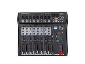 Depusheng DT8 Professional Mixer Sound Board Console 8 Channel Desk System Interface Digital USB Computer MP3 Input 48V Phantom Power Stereo DJ Studio FX Steel Chassis,Black