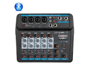 Depusheng U6 Audio Mixer 6-CHANNEL DJ Sound Controller Interface with USB for PC Recording,USB Audio Interface Audio Mixer, 2-Band EQ, Stereo Headphone , for Live Streaming
