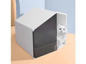 Furrytail XL Semi-Closed Glow House Cat Litter Box with Scoop Cat Indoor Home Sandbox