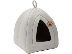 HollyHOME Self-warming 2 in 1 Foldable Comfortable Triangle Cat Bed Tent House, Dark Gray
