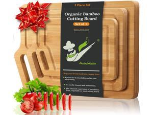 Pezin & Hulin Bamboo Cutting Board with Juice Groove & Handle , Kitchen Organic Chopping Board,  Meat Cheese and Vegetables as Serving Tray.(Set of 3 Pieces)
