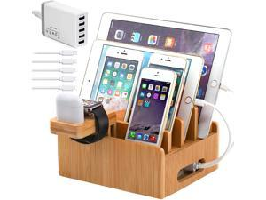 Pezin & Hulin Bamboo Charging Station, with Power Charger HUB ,5 Cables, Cell PhoneChargingStand for Multiple Devices, Phones, Tablets.(Includes 5 Port USB Charger,5 Cables , iWatch & AirPod Stand)