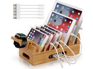 Pezin & Hulin Bamboo Charging Station with Watch Stand,5 Cables. Wood Docking Stand Electronic Organizer for Multiple Devices.(No Charger HUB)