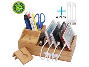 Pezin & Hulin Multiple USB Charger Stand, Wood Desk Docking Station Organizer for Cell Phones, Tablet, AirPods, iWatch Stand (Includes 4 Cables BUT NO Charger HUB)