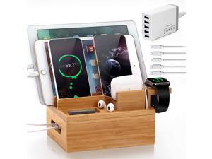 Pezin & Hulin USB Charger Station for Multiple Devices ,5 Port USB Charging Stand for Apple Product,  AirPods,  Cellphone, iWatch, Tablet.(Includes Charger HUB,5 Cables, Watch & Headset Stand)