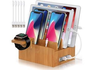 Pezin & Hulin Desktop Charging Station,HUB Wall Charger for Smart phones, iPhone, iPad ,Tablets ,Bamboo color.(Includes 5 Cables,Watch Stand)