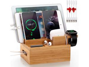 Pezin & Hulin Charging Station for Multiple Devices, Bamboo 3 Slots Charger Stand for Apple Product, Cellphone, AirPods, iWatch,Tablet .(Includes 5 Cables, Watch & headset Stand, NO Charger HUB)