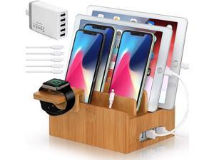 Pezin & Hulin Bamboo  USB Charging Stand,Magnetic Organizer Stand Compatible with Phone,Tablet,Watch,Table and Other Smart Devices (Includes 5 Port USB Charger, 5 Cables,Watch Stand)