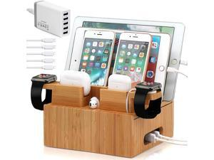 Pezin & Hulin Bamboo Charge Station for Multi Devices,Charging Station Organizer for Phones and Tablets, with 2 Bonus Dock Stands for Apple Watch & AirPods (Includes 5 Cables,and Charger HUB)