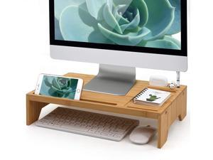 Pezin & Hulin Home and Office Wood Desktop Stand, Bamboo Monitor Stand Riser Desk Organizer Storage for Computer, Laptop, PC, Printer, Notebook.