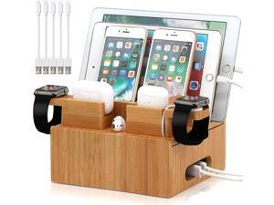Pezin & Hulin Bamboo Charging Station, Desktop Dock Stand Organizer for Cellphones and Tablets, with Bonus 2 Dock Stands for Apple Watch & AirPods (Includes 5 Cables, NO Charger HUB)