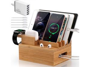 Pezin & Hulin Charging Station for Multiple Devices,5  Port Multi USB Charger Stand, Cellphone Charging  Stations.(Includes 5 Port USB Charger, 5 Cables, with AirPod & iWatch Stand)