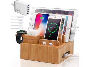 Pezin & Hulin USB Charger Station,5 Ports Desktop USB Charging Dock for Multiple Devices (Includes 5 Port Charger HUB, 5 Cables, with Headset & Watch Stand)