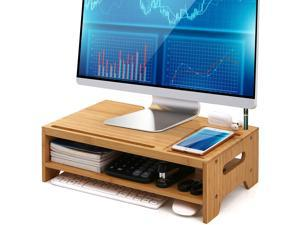 Pezin & Hulin Bamboo Monitor Stand Riser for Desktop Organizer,Wood 2 Tiers Computer Stand Storage for Laptop, Tablet, Cellphone, Keyboard, Printer and More.