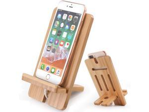Pezin & Hulin Bamboo Cell Phone Tablet Stand,Wooden Smart Phone Desktop Charging Dock Holder Compatible with Pad, Phone 12 , All iOS & Android Phone, Tablet - 1 Pack.