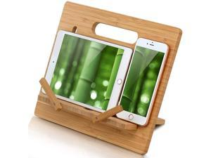 Pezin & Hulin Bamboo Tablet Stand Large,Support Up to 15 inch Tablets Holder for Microsoft Surface Series Tablets,iPad Series, Samsung Galaxy Tabs, Kindle Cellphone Stand.