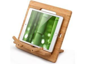 """Pezin & Hulin Bamboo Tablet Stand Holder Regular, Desktop Cell Phone Tablet Stand Compatible with iPad Air Mini Pro, Phone 12 11 XS Max XR X 8 7 6 Plus S10 S9 S8 Smartphones (Support up to 13"""")"""