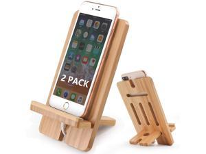 Pezin & Hulin Cell Phone Tablet Stand 2 Pack, Bamboo Wooden Smart Phone Desktop Charging Dock Holder Compatible with Pad, Tablet, Phone 12 11 X XS Max XR , All iOS & Android Devices.