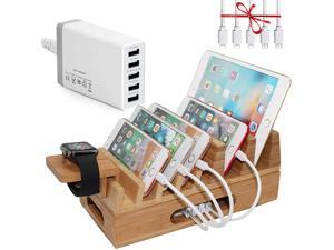 Pezin & Hulin Bamboo Charging Station Holder with 5 Port USB Charger, Watch Stand, Wood Dock Stand Organizer for Multiple Devices, Phones, Tablets, Laptop