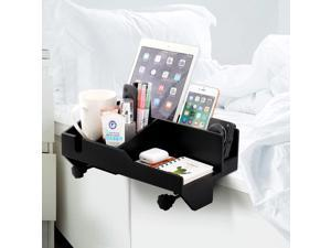 Pezin & Hulin Bedside Caddy, Bamboo Attachable and Adjustable Bedside Storage Organizer for Bunk Bed, Dorm Room Bed, Organizer for Book, Phones, Tablet, Drink, Remotes.