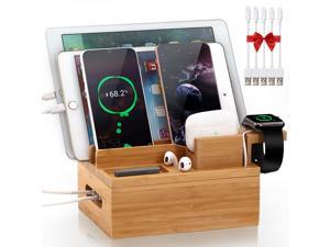 Bamboo Charging Station for Multiple Device, Pezin & Hulin Desktop Phone Docking Station Organizer, Included 5 Charging & Sync Cables, iWatch & AirPod Stand (NO USB Charger)