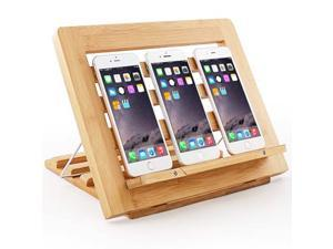 Cell Phone Stand, Tablet Holder, Natural Bamboo Rack, Foldable Wood Stand for Multi Devices, Adjustable Reading Book Recipe Holder (Pezin & Hulin)