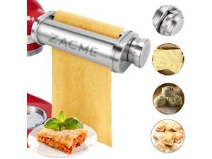 Noodle Roller Pasta Maker Attachment for Kitchenaid Mixers, Electric Dough Roller Pasta Attachment Tool Silver Stainless Steel 1 Pack