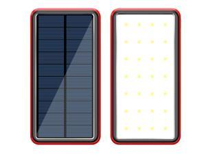 Lurkwolfer Solar Charger Power Bank 30000mAh Portable Charger with 4 USB 2.4A Outputs, External Battery Pack with Ultra Bright LED Flashlights Phone Chargers for Phone, Tablet and Camping Outdoors