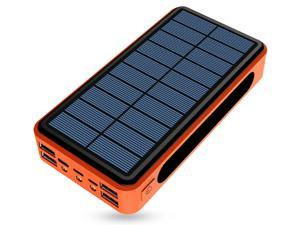 Lurkwolfer Solar Power Bank 26800mAh, Solar Charger Fast Charge 3.0A Qi Portable Charger External Battery with 4 Outputs & LED Flashlight Phone Chargers for Phone, Tablet and Camping Outdoors