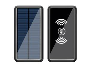 Lurkwolfer Solar Charger 30000mAh Wireless Portable Solar Power Bank External Battery Solar Phone Charger with 2.4A Fast Charging and LED Flashlights with 4 Outputs,