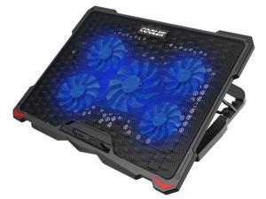 AICHESON Laptop Cooling Pad 5 Fans Up to 17.3 Inch Heavy Notebook Cooler, LED Lights, 2 USB Ports, S035