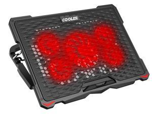 """AICHESON Laptop Fan Cooling Pad for 15.6""""-17.3"""" Laptops, 5 Cooler Fans with Red Lights"""