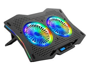 AICHESON Full RGB Lights Laptop Cooling Cooler Pad 2 Turbine Fans for 14-17.3 Inch Gaming Notebooks