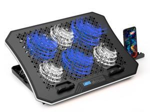 AICHESON Laptop Cooler Pad with 6 Cooling Fans, 7 Adjustable Height Stand, Blue LED Lights, USB Powered Chill Mat for 15-17.3 inch Laptops