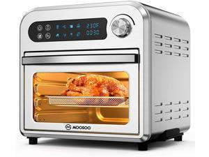 MOOSOO Air Fryer Oven, 10.6 QT Air Fryer Toaster Oven Combo with Digital Screen, 8 in 1 Convection Oven with Dehydrator, Bake, Broil, Less Oil, Temp/Time Dial, Stainless Steel,4 Accessories