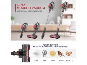 MOOSOO Cordless Vacuum 4-in-1 Stick Vacuum Cleaner for Carpet Hard Floor Pet Hair - Red