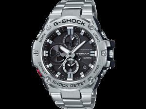 Casio Men's 'G-Steel by G-Shock' Quartz Solar Bluetooth Connected Resin Dress Watch, Color: Black (Model: GST-B100D-1ACR) Smart Watch