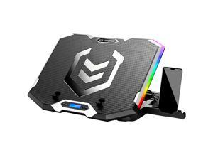 ICE COOREL Laptop Cooling Pad for 15.6-17.3 Inch, Gaming Laptop Cooler Stand with 6 Quiet Cooling Fans and 6 Height Adjustable, LCD Screen and RGB Lights, Two USB Ports, One Phone Stand