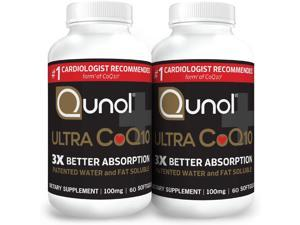 Qunol Ultra CoQ10 100mg 3X Better Absorption Patented Water and Fat Soluble Natural Supplement Form Coenzyme Q10 Antioxidant for Heart Health Packs Softgels