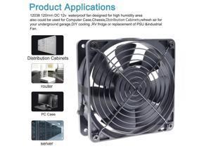 IP68 Waterproof 120mm 12cm (120X120X38mm) Cooling Fan DC12V 3600RPM High Airflow ,for Home Bathroom Grow Room Ventilation Vent Server Radiator
