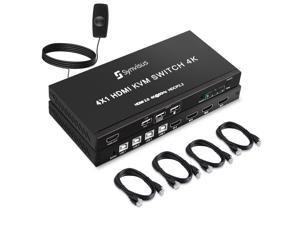 Synvisus HDMI KVM Switch 4 Port Box, 4Kx2K@60Hz/30Hz/1080P, 4 in 1 Out HDMI & USB KVM Switcher 4 PCs Sharing 1 HD Monitor and 3 USB Devices Keyboard Mouse Printer, with 4 USB & HDMI Cables