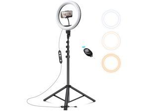"""10.2"""" Selfie Ring Light with Tripod Stand & Cell Phone Holder for Makeup/Stream/Live,Camera Ringlight Dimmable Circle Light, 3 Modes Light for YouTube/TikTok/Photography Compatible with iPhone/Android"""
