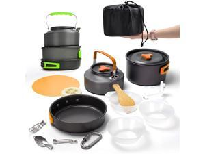 Camping Cookware Mess Kit Stove Canister Stand Tripod Outdoor Hiking Picnic Non-Stick Cooking Backpacking with Folding Knife and Fork Set Mess Kit